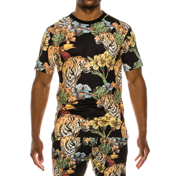 COLORFUL JUNGLE T-SHIRTS - BLACK