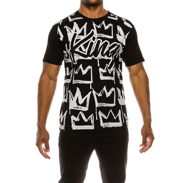 KING RHINESTONE T-SHIRTS - BLACK
