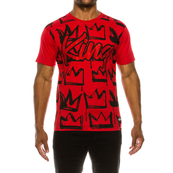 KING RHINESTONE T-SHIRTS - RED