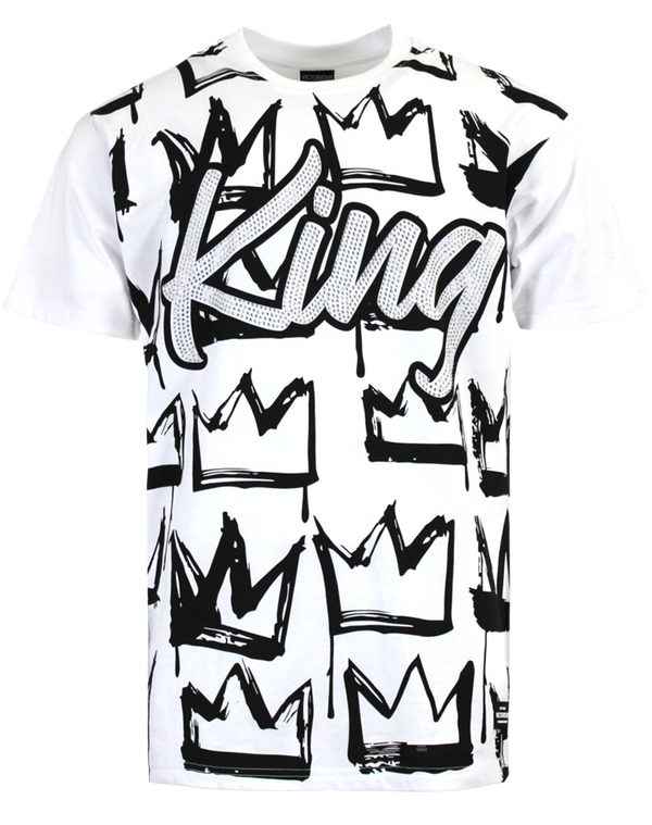 KING RHINESTONE T-SHIRTS - WHITE