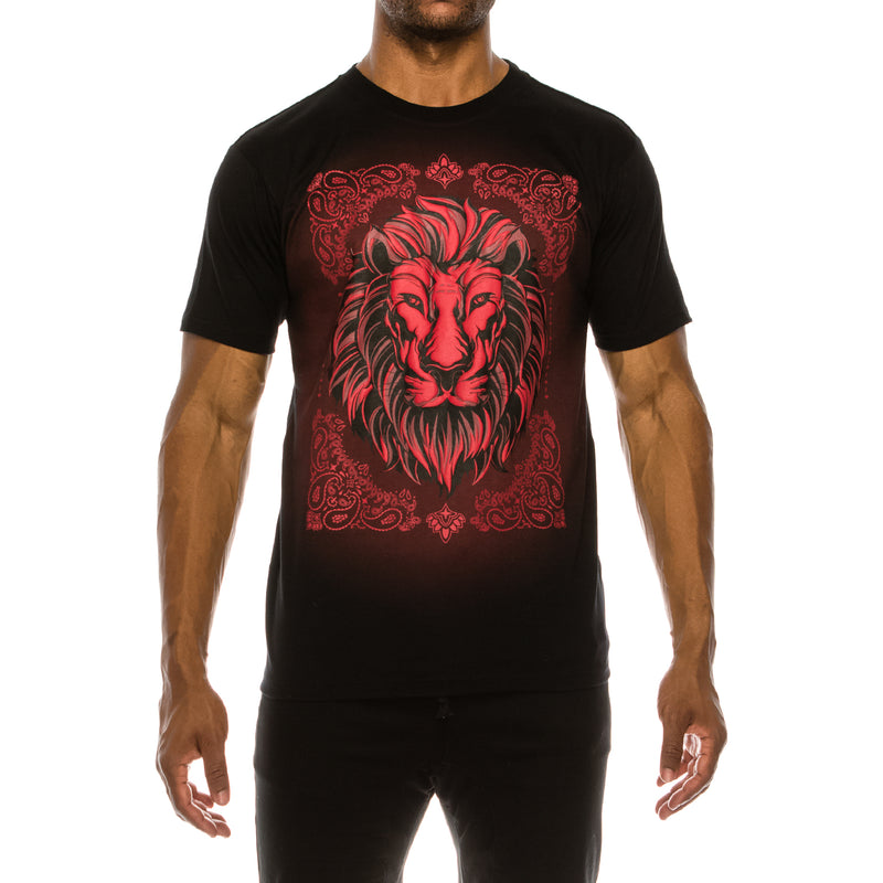 LION EMBOSSED T-SHIRTS - RED