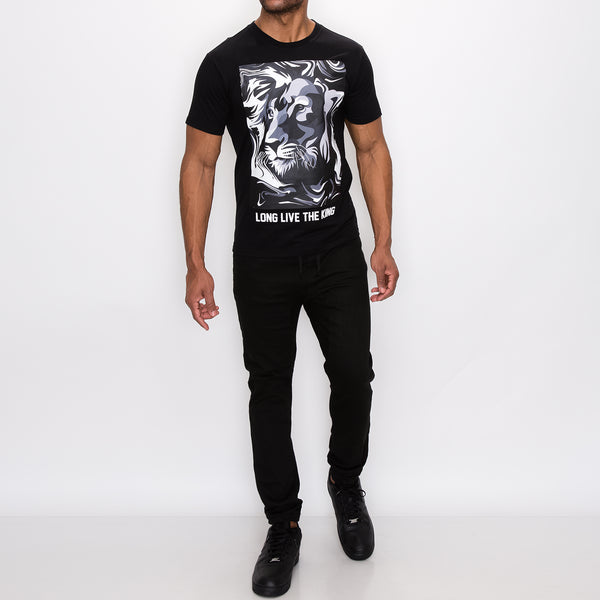 LION MARBLE T-SHIRTS - BLACK