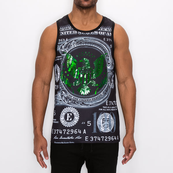 IRIDESCENT FOILMONEY TANK-TOP - BLACK