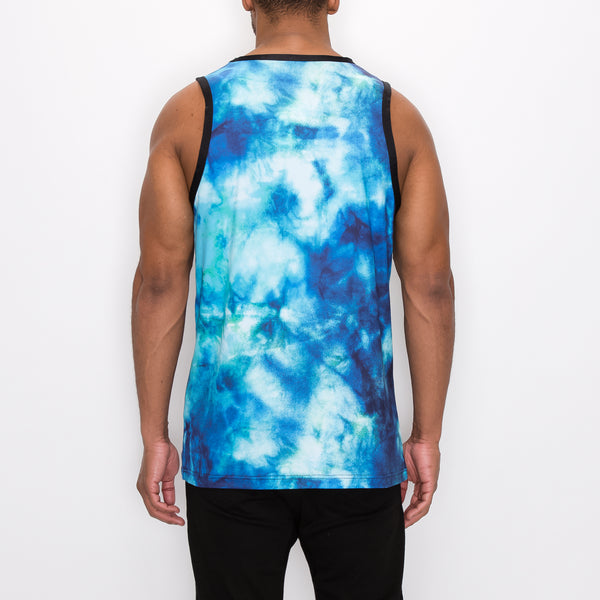 SAVAGE TIE-DYE TANK-TOP - TOPAZ
