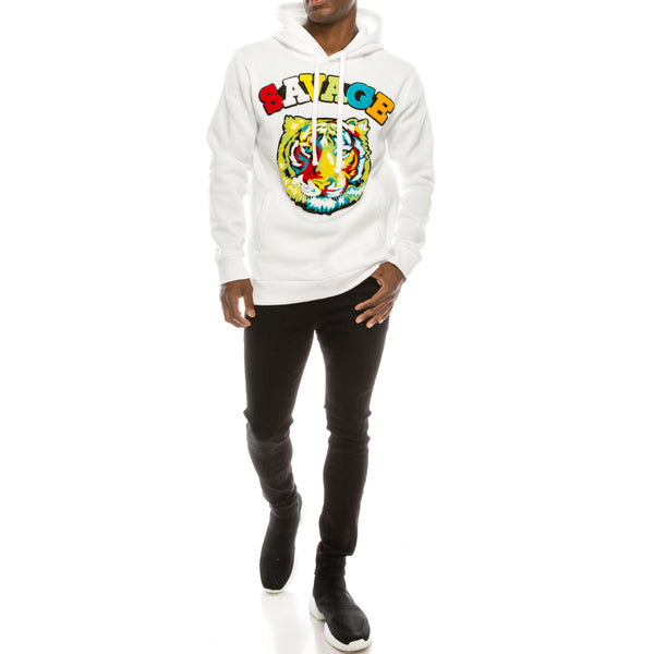 COLORFUL TIGER FLEECE PULLOVER HOODIE - WHITE