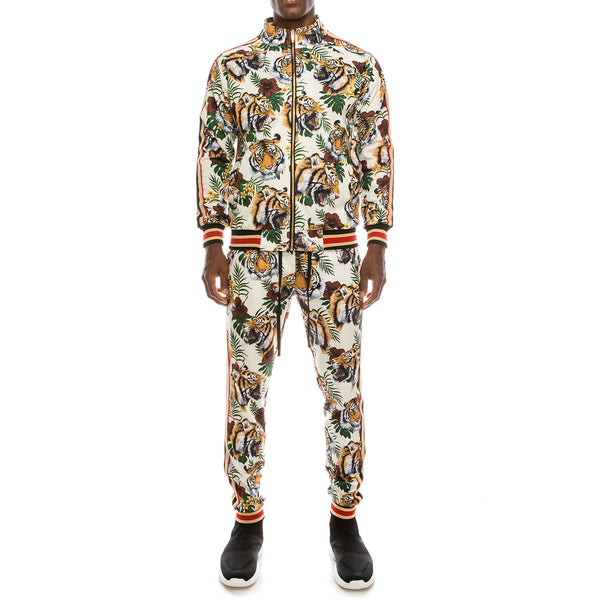 TIGER FLORAL TRACK SUITS - WHITE