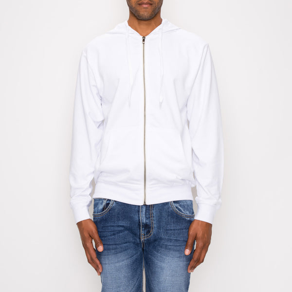 FRENCH TERRY ZIP DOWN HOODIE - WHITE