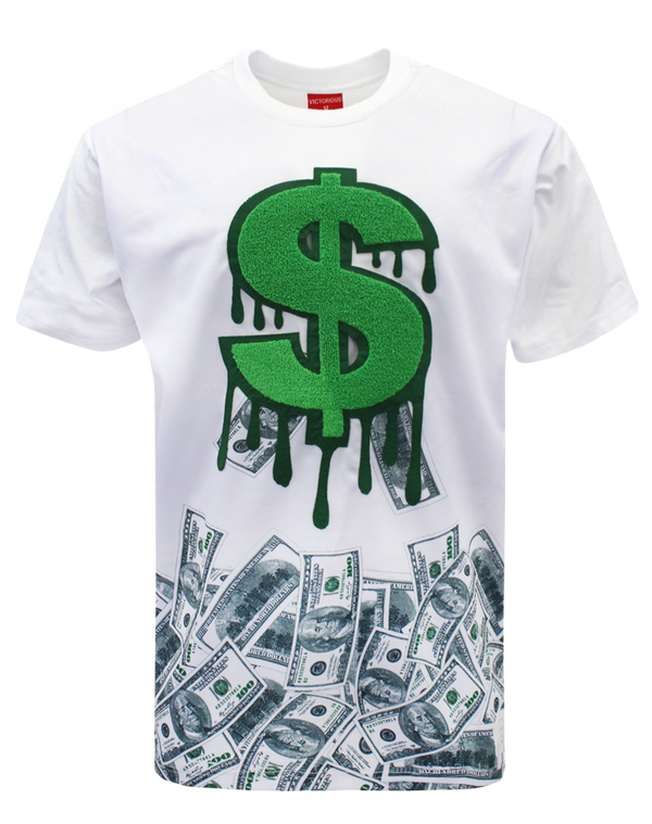 CHENILLE DOLLAR SIGN T-SHIRTS - WHITE