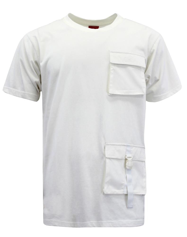 DOUBLE POCKET UTILITY T-SHIRTS - WHITE