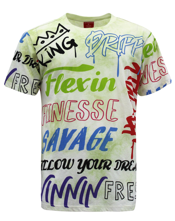 TIE DYE GRAFFITI ALL OVER T-SHIRTS - LIME DYE