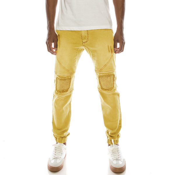DISTRESSED COLOR JOGGER PANTS - WHEAT