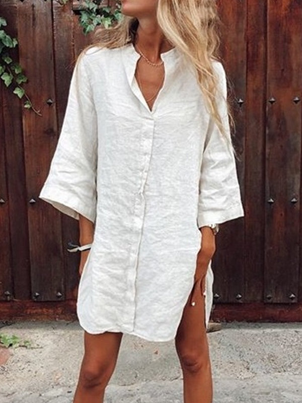 White Solid Casual  3/4 Sleeve Dresses