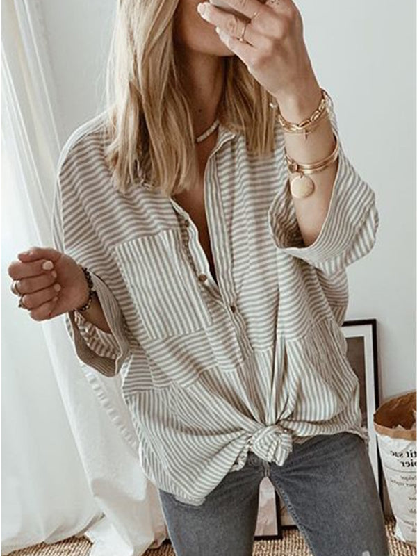 Casual Stripes Long Sleeve Shirts & Tops