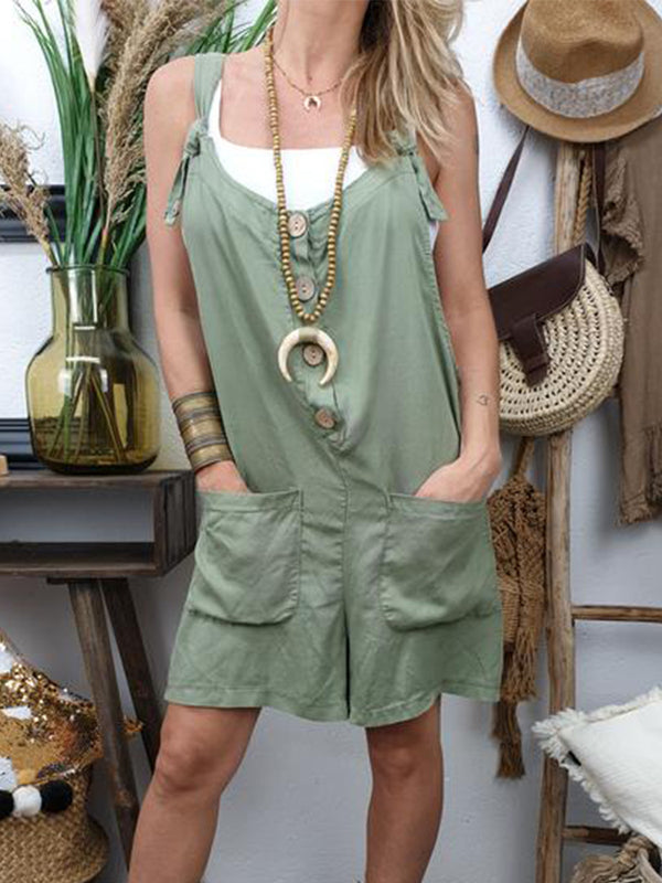 Green Casual Solid Sleeveless Pockets Jumpsuts