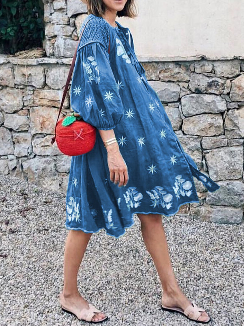 Balloon Sleeves Floral Print Holiday Dresses