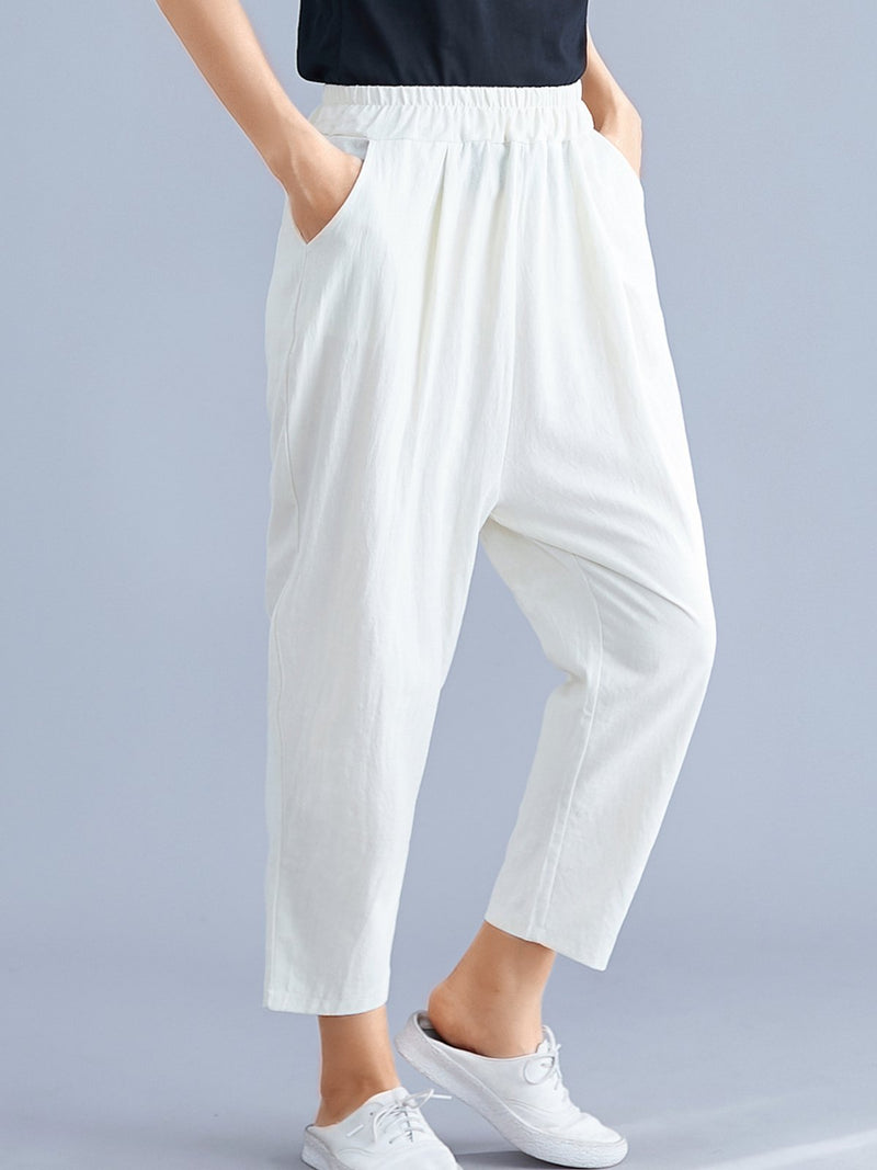 Plus Size Cotton And Linen Solid Loose Casual Pants