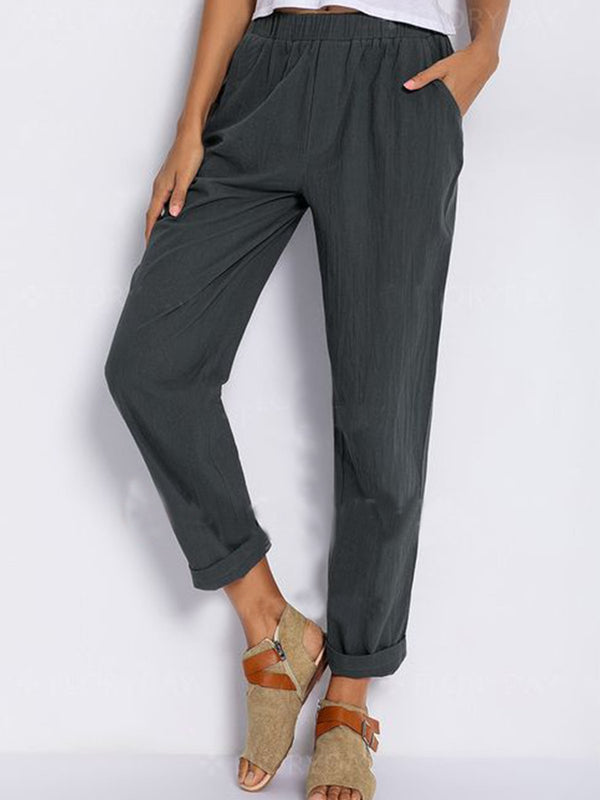 Cotton-Blend Pockets Pants