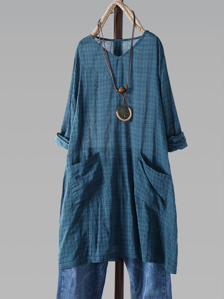 Vintage Checkered V-neck Long Sleeve Pockets Dress