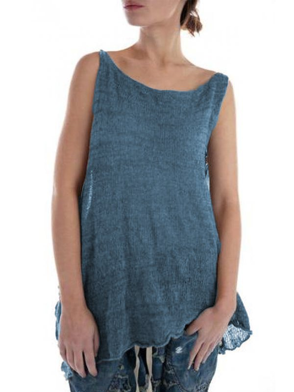 Casual Sleeveless Round Neck Solid Plus Size Vest