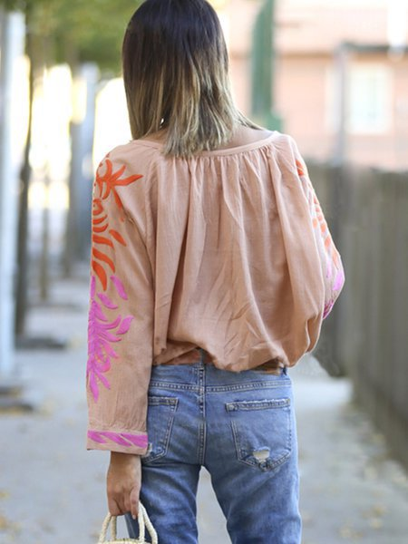 Orange Floral V Neck Boho Blouse