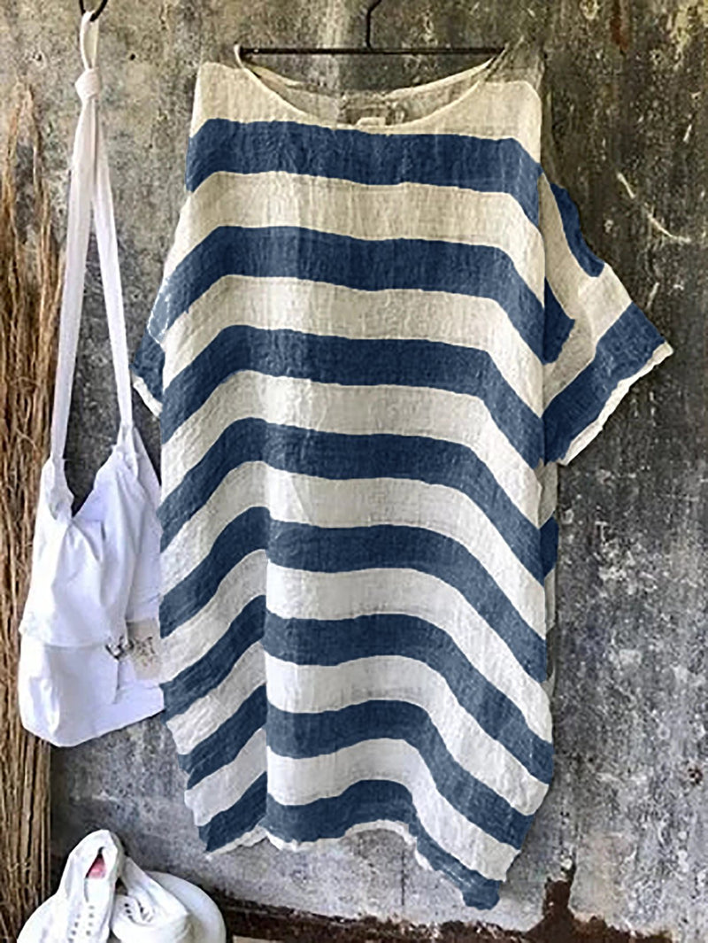 Crew Neck Women Striped Dresses Shift Plus Size Dresses