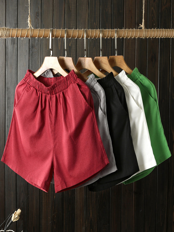 Plus Size Women Cotton And Linen Solid Loose Casual Wide Leg Shorts