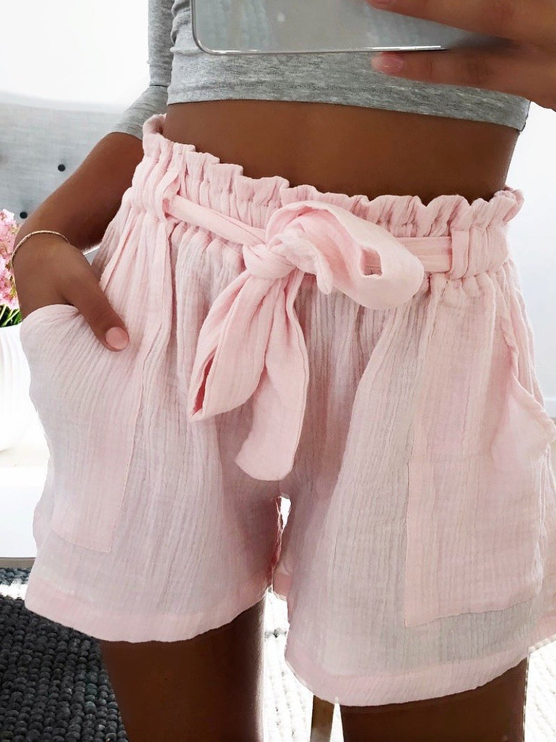 Beach Resort Pure Color Gathered Pockets Gathered Shorts