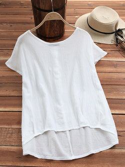 Casual Solid Plus Size  Round Neck Blouse