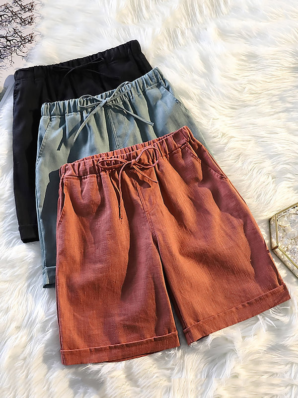 Elastic Waist Mid Length Plus Size Shorts Pants
