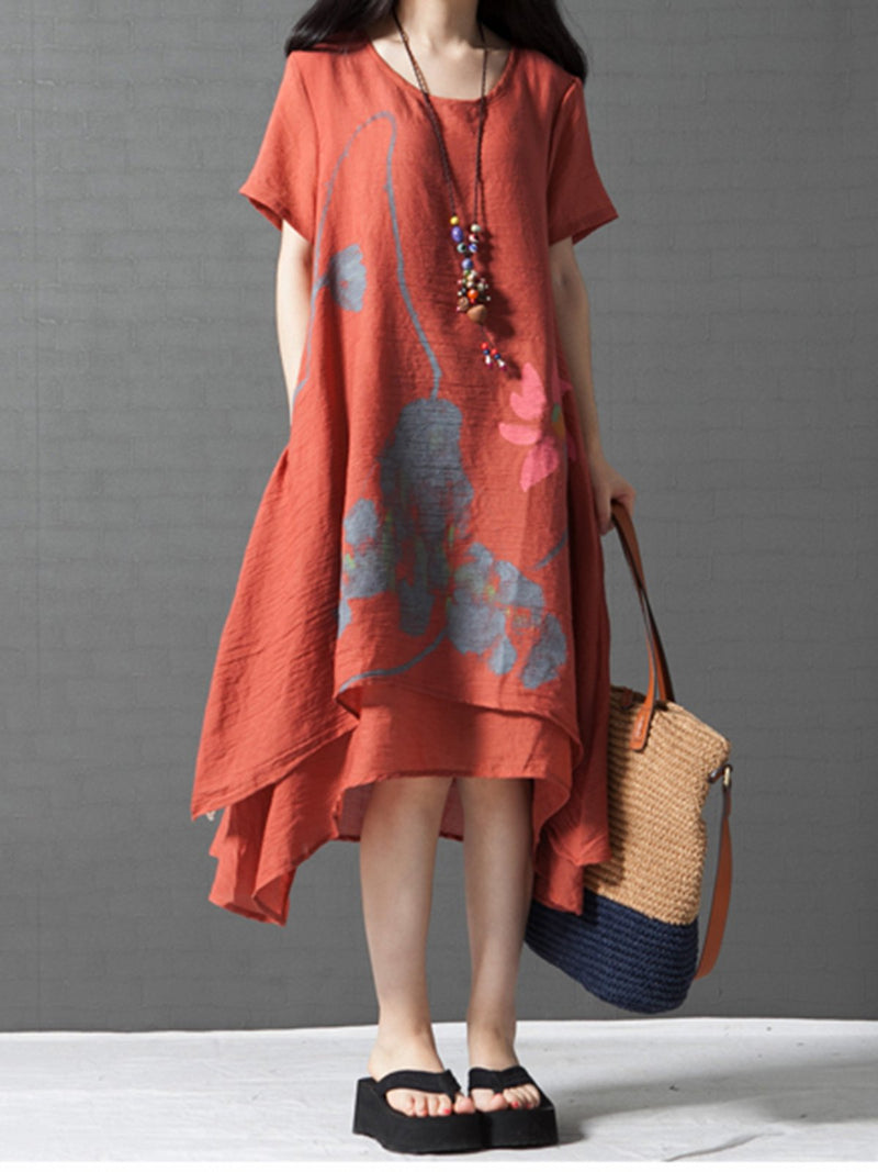 Women  Asymmetrical Daily Short Sleeve Tiered Floral Dress