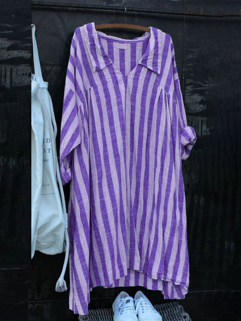 Plus Size Women Long Sleeved Stripes Casual Linen Dresses