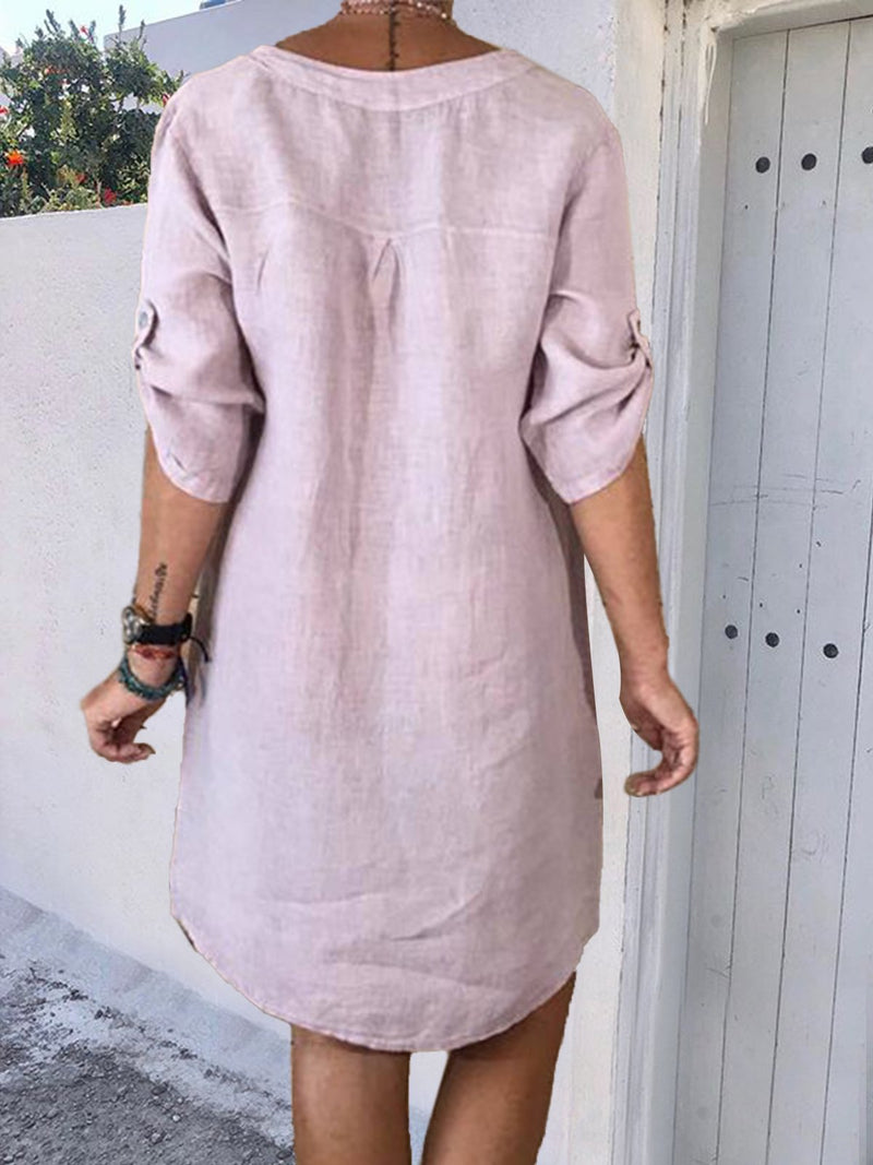 Plus Size V Neck Women Plain Dresses