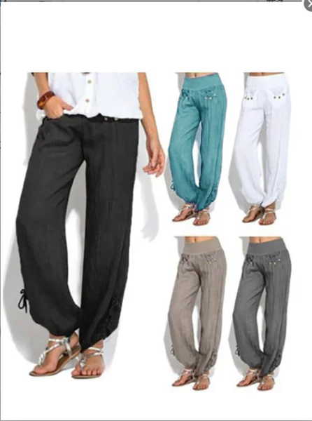 Solid Casual Buttoned Cotton Pockets Plus Size Pants