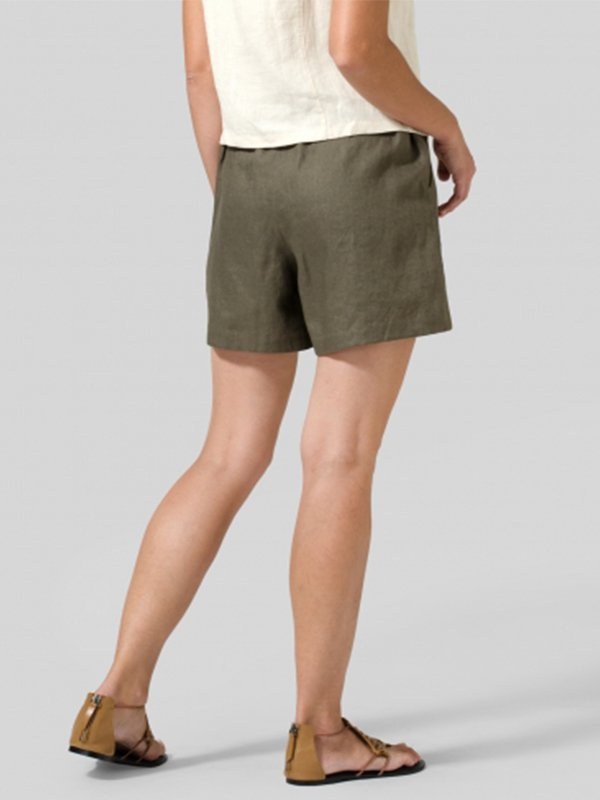 Casual Plus Size Solid Shorts With Pockets