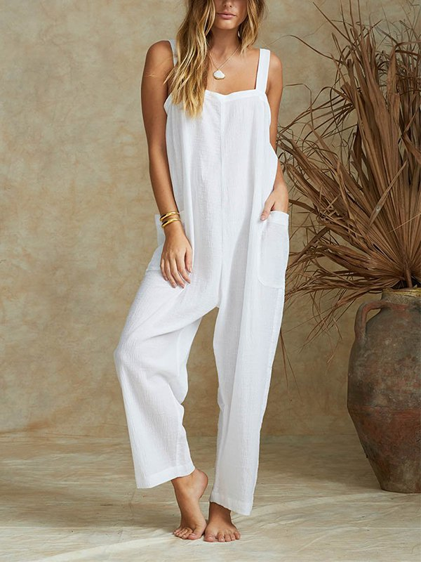 Casual Sleeveless Plus Size Jumpsuits With Pockets