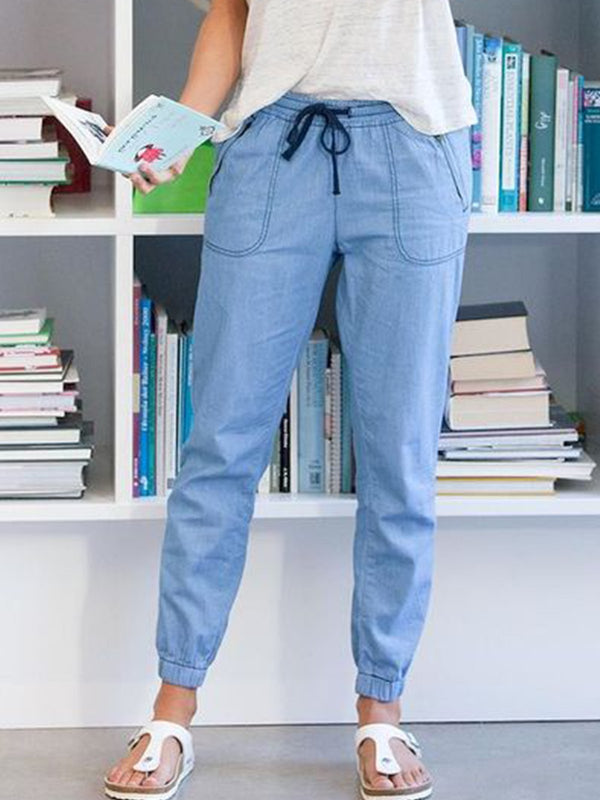Light Blue Cotton-Blend Casual Patchwork Pants
