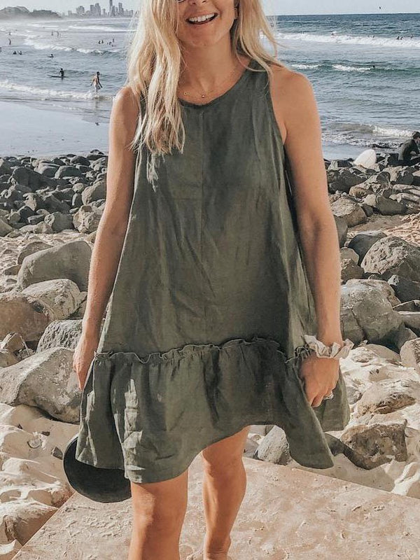 Army Green Solid Round Neck Cotton-Blend Casual Dresses
