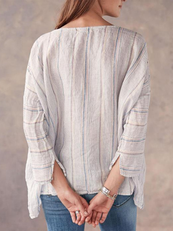 Casual Striped Long Sleeve Round Neck Tops