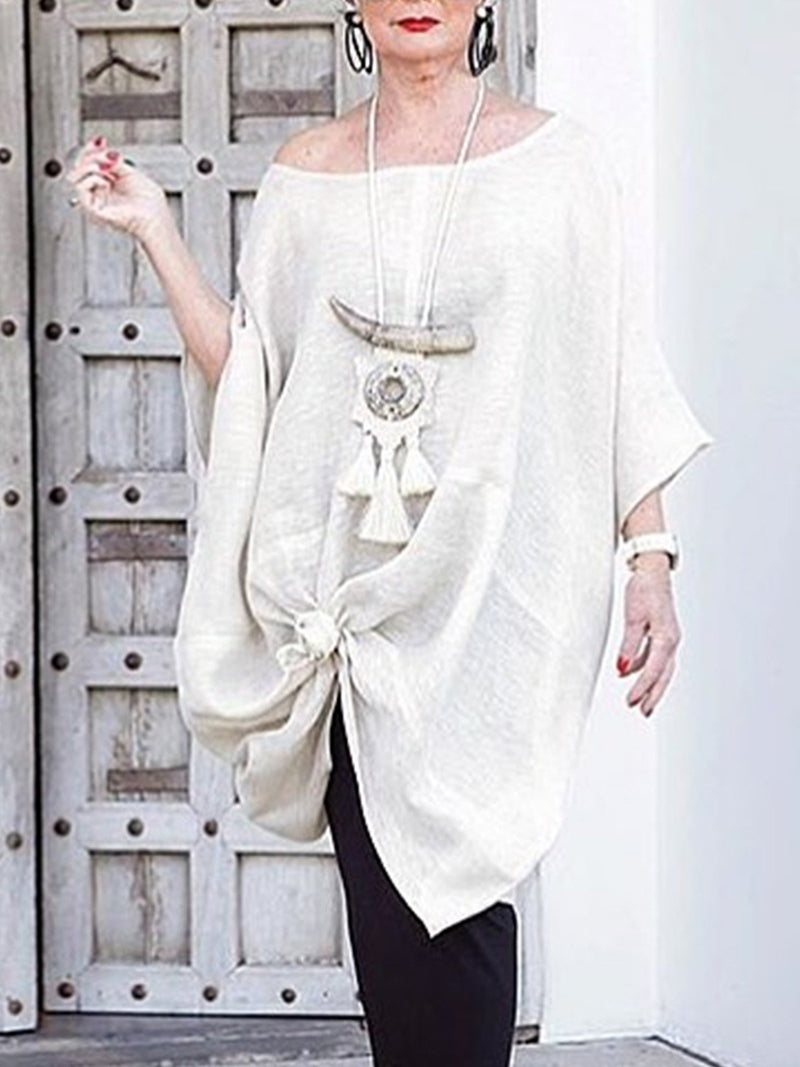 Women  U-neck Half Sleeve Solid  Loose Casual Dresses