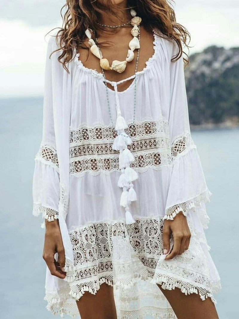 Lace Tassel Long Sleeve Vintage Dresses