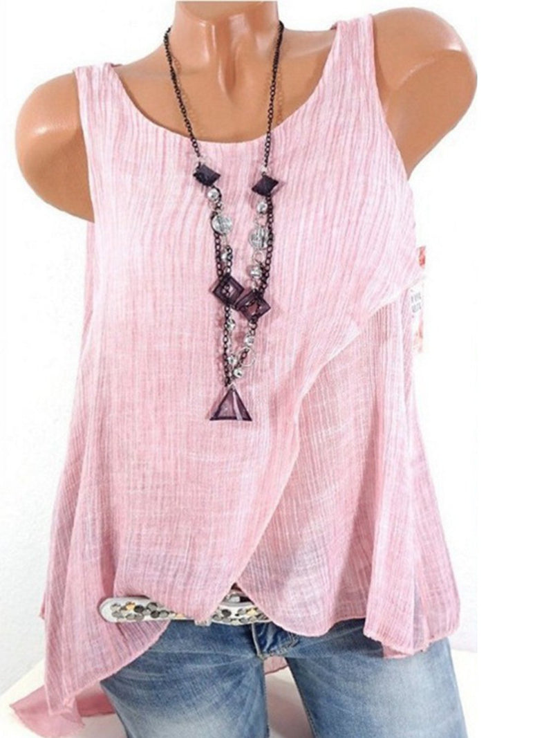 Top - Sleeveless Chiffon Patchwork Sexy Top