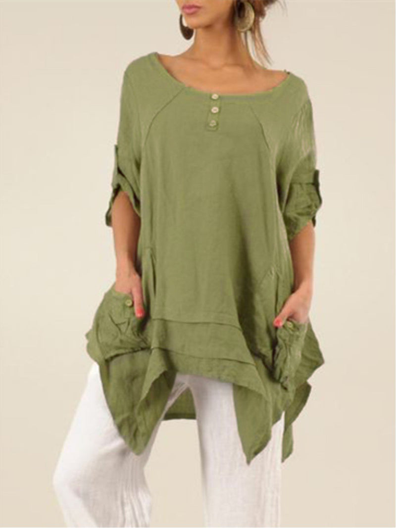 Plus Size Casual Asymmetrical Crew Neck Pockets Half Sleeve Blouse