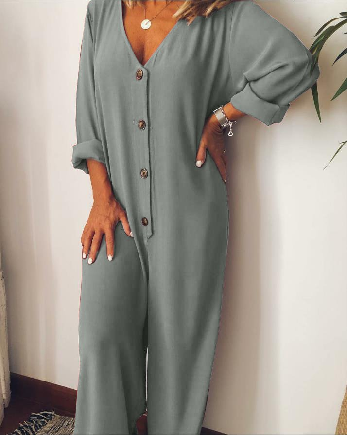 Plus Size Casual V Neck Long Sleeve Solid Jumpsuits