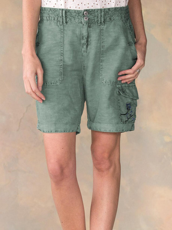Green Embroidered Sweet Cotton-Blend Pants