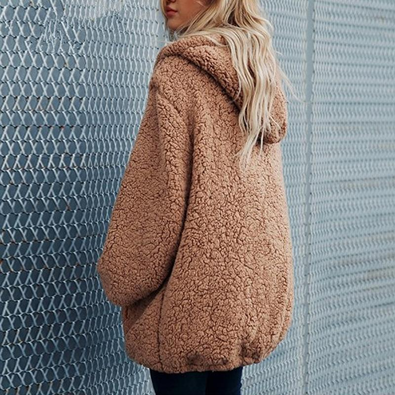 A Plush Hooded Pockets Hoodie Coat Camel