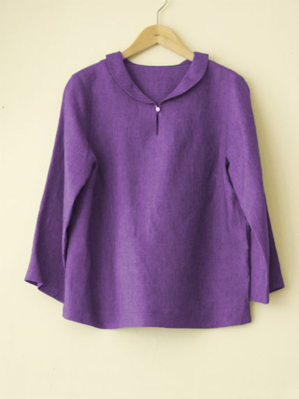 Casual Round Neck Long Sleeve Solid Plus Size Tops
