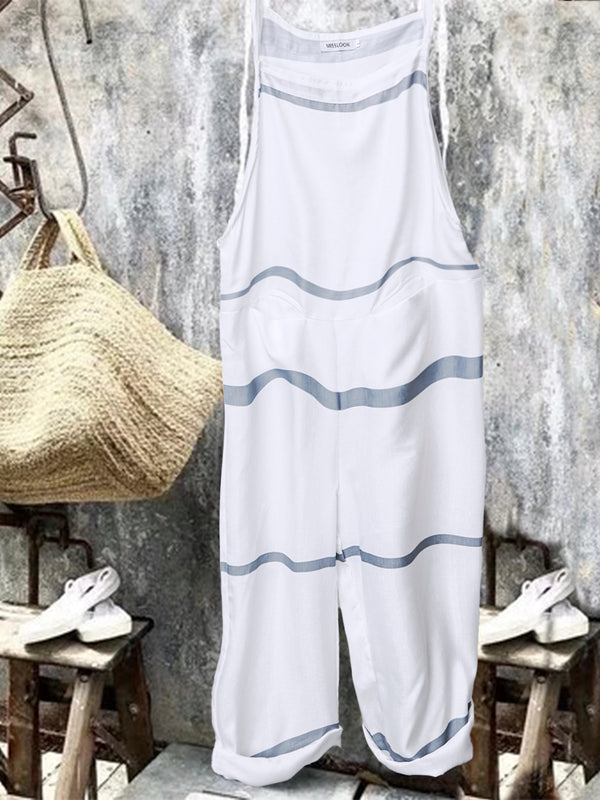 Women Casual Sleeveless Striped Jumpsuits