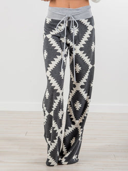 Graphic Printed Paneled Gray Casual Pants
