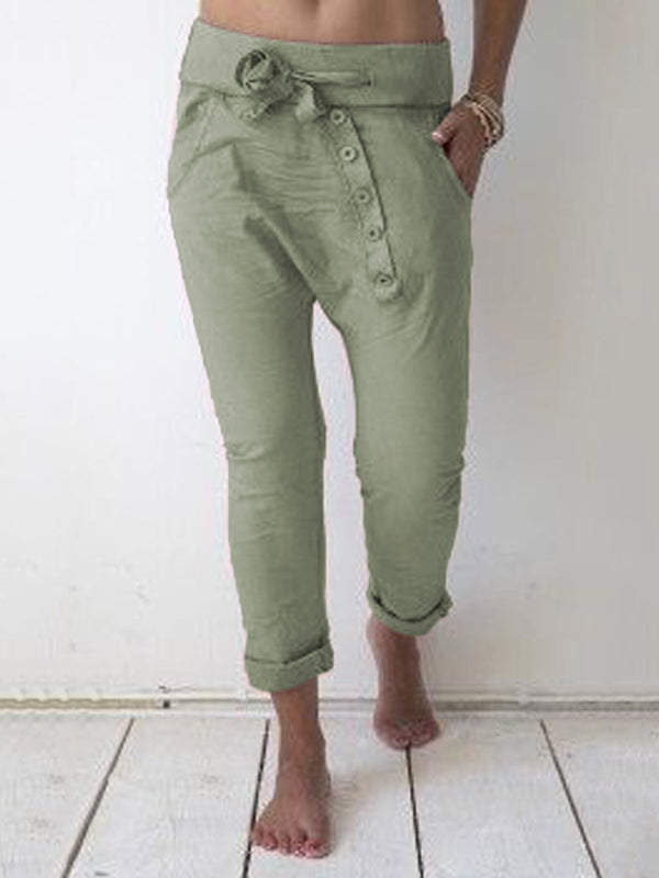 Solid Drawstring Casual  Pants Women Trousers