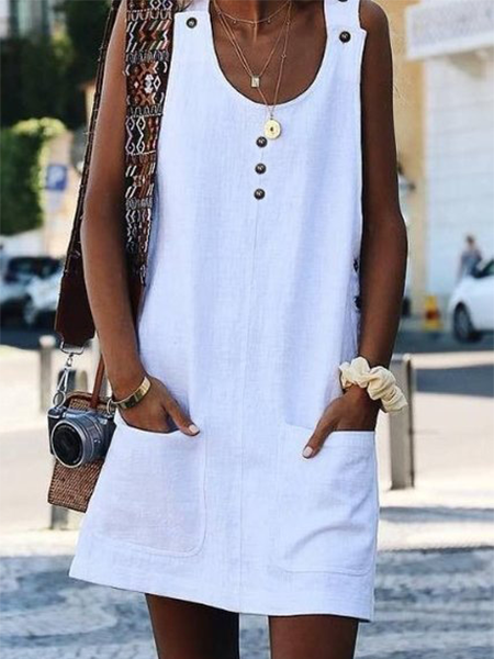 White Crew Neck Buttoned Cotton-Blend Sleeveless Dresses